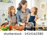 healthy food at home. happy... | Shutterstock . vector #1414162580