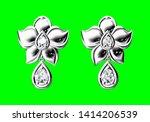 beautiful earrings on green...   Shutterstock . vector #1414206539