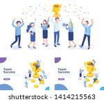 team success isometric vector... | Shutterstock .eps vector #1414215563