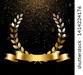 realistic gold laurel wreath...   Shutterstock .eps vector #1414224176