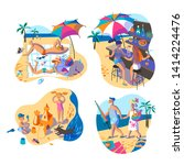 people on summer vacation flat... | Shutterstock .eps vector #1414224476
