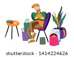 tired husband in boutique flat... | Shutterstock .eps vector #1414224626