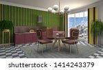 interior dining area. 3d... | Shutterstock . vector #1414243379