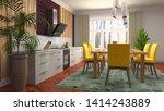 interior dining area. 3d... | Shutterstock . vector #1414243889