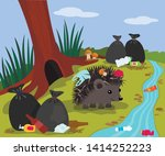 ecological disaster from... | Shutterstock .eps vector #1414252223