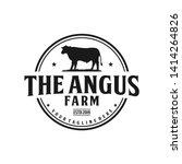 angus farm vintage logo design | Shutterstock .eps vector #1414264826