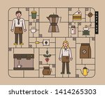 plastic toy part layout concept ... | Shutterstock .eps vector #1414265303