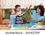 teacher two preschoolers and... | Shutterstock . vector #14142709