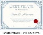 certificate or diploma vintage... | Shutterstock .eps vector #1414275296