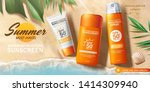 sunscreen ads on beautiful... | Shutterstock .eps vector #1414309940