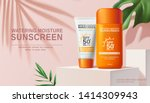 moisture sunscreen ads on white ... | Shutterstock .eps vector #1414309943