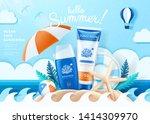 summer ocean safe sunscreen...   Shutterstock .eps vector #1414309970