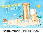 golden color sunscreen ads on...   Shutterstock .eps vector #1414311959
