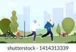 elderly people park. seniors... | Shutterstock .eps vector #1414313339