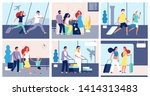 people airport. tourists with... | Shutterstock .eps vector #1414313483