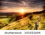 Hill Fence Landscape With...