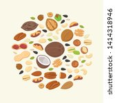 big collection of nuts and... | Shutterstock .eps vector #1414318946