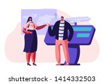 man buying airplane ticket at... | Shutterstock .eps vector #1414332503