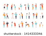 flat vector set of quarreling... | Shutterstock .eps vector #1414333346