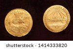 pair of old polish gold coins... | Shutterstock . vector #1414333820