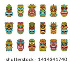 tiki masks. tribal hawaii totem ... | Shutterstock .eps vector #1414341740