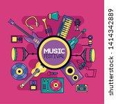music instrument festival pink... | Shutterstock .eps vector #1414342889