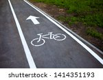 Bike Path. Sign White Paint On...