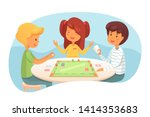 children playing board game... | Shutterstock .eps vector #1414353683
