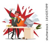 angry offie worker crushing the ... | Shutterstock .eps vector #1414357499