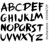 hand drawn font brush stroke... | Shutterstock .eps vector #141436729