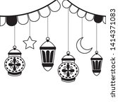 hanging lanterns decoration on... | Shutterstock .eps vector #1414371083