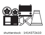 projector chair and speaker...   Shutterstock .eps vector #1414372610