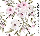 seamless pattern with flowers... | Shutterstock . vector #1414385546