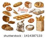 bread vector hand drawn set... | Shutterstock .eps vector #1414387133
