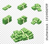 Bunches of money in cartoon 3d style. Set of different packs of dollar bills. Isometric green dollars, profit, investment and savings concept. Vector - stock vector