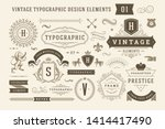 Stock vector vintage typographic design elements set vector illustration labels and badges retro ribbons 1414417490