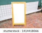 blank white menu stand on floor ... | Shutterstock . vector #1414418066