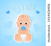 Stock vector greeting card it s a boy with cute baby boy on a blue background baby shower illustration 1414426406