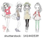 fashion illustration girls | Shutterstock .eps vector #141443539