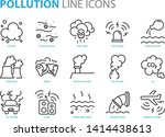 Set Of Pollution Line Icons ...