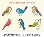 beautiful cute birds doodle... | Shutterstock .eps vector #1414452599