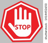 stop with hand symbol icon... | Shutterstock .eps vector #1414452653