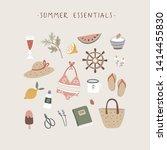 summer essentials greeting card....   Shutterstock .eps vector #1414455830