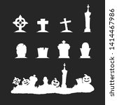 black silhouettes of cemetery... | Shutterstock .eps vector #1414467986