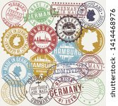hamburg germany set of stamps.... | Shutterstock .eps vector #1414468976
