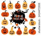 halloween icon set of cheerful... | Shutterstock . vector #1414472333