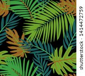 bright summer tropical leaves... | Shutterstock .eps vector #1414472759