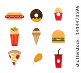 fast food flat on background | Shutterstock .eps vector #1414473596