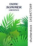 trendy summer tropical leaves... | Shutterstock .eps vector #1414477349