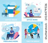 set flat banner coffee break ... | Shutterstock .eps vector #1414479536